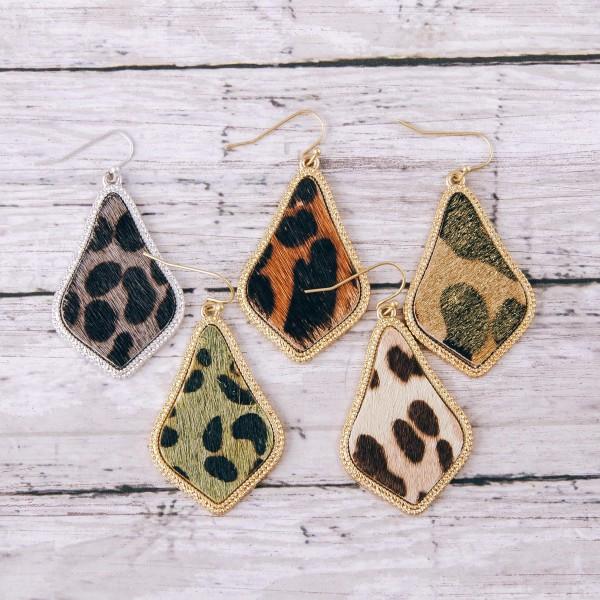 "Leopard print cowhide drop earrings.  - Approximately 2"" in length"