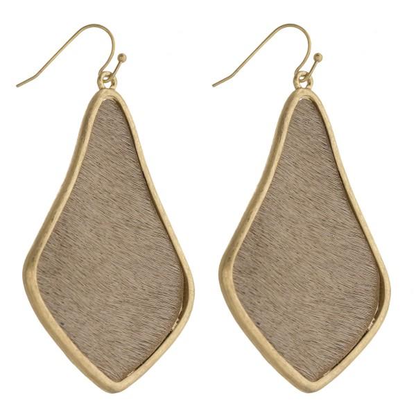 "Cowhide encased arabesque drop earrings.   - Approximately 2.5"" in length"