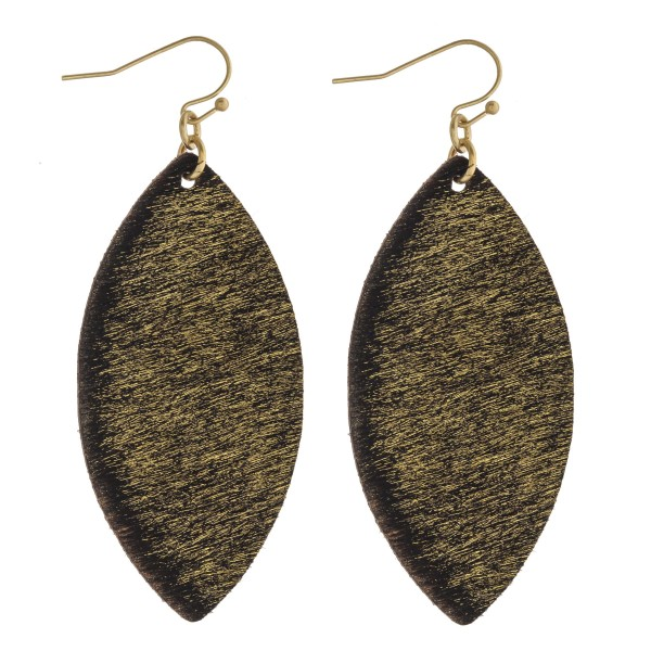 Wholesale cowhide finish pointed oval drop earrings