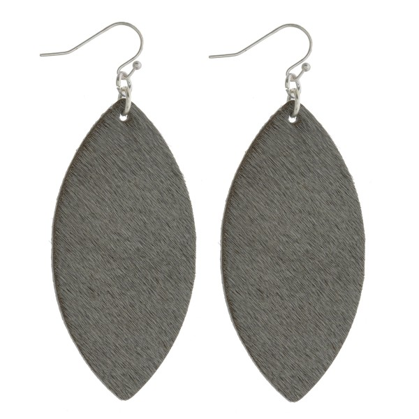 """Cowhide finish pointed oval drop earrings. Approximately 2.5"""" in length."""