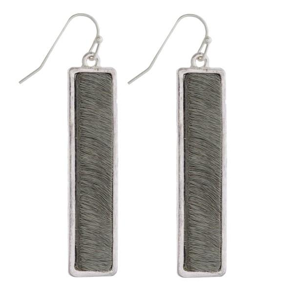 Wholesale faux fur encased bar drop earrings