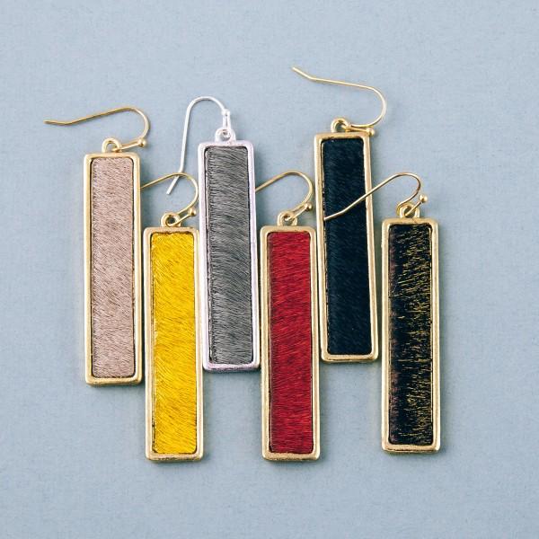 """Faux fur encased bar drop earrings. Approximately 2"""" in length."""