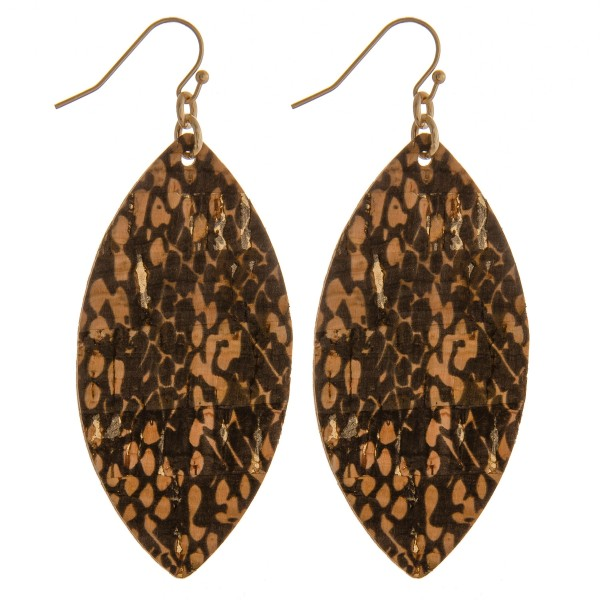"""Snakeskin cork drop earrings.  - Approximately 2.5"""" in length"""
