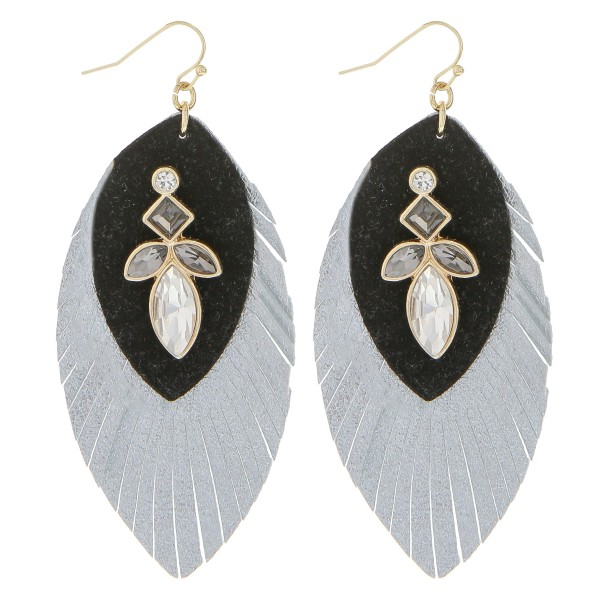 "Faux leather rhinestone feather earrings.   - Approximately 3.5"" in length"