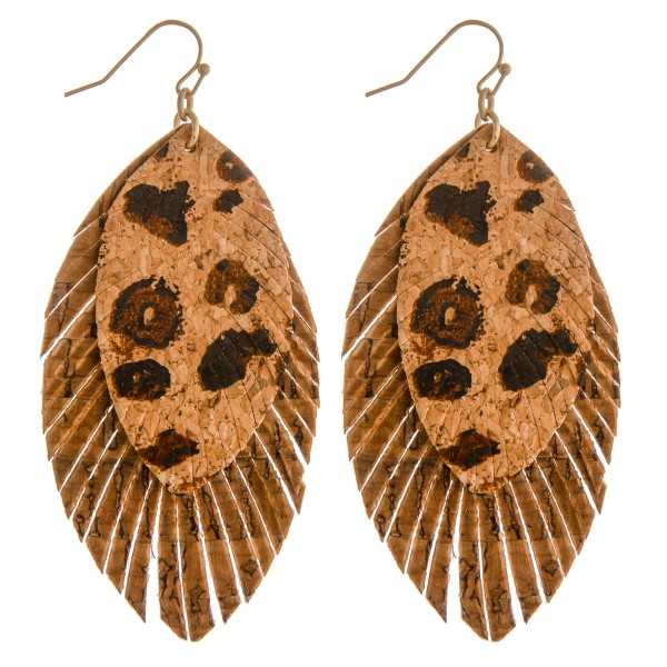 """Layered leopard print cork feather drop earrings.  - Approximately 3.5"""" in length"""