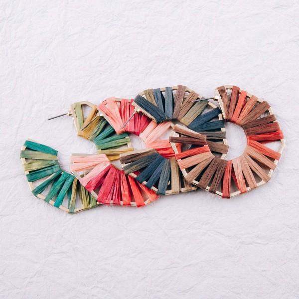 """Ombre raffia wrapped octagon open hoop earrings. Approximately 2.25"""" in diameter."""