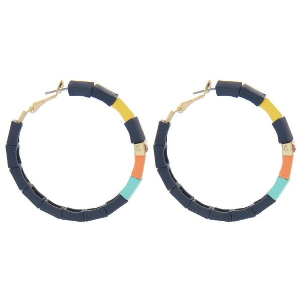 """Coated color block hoop earrings with a rhinestone detail.  - Approximately 2"""" in length"""