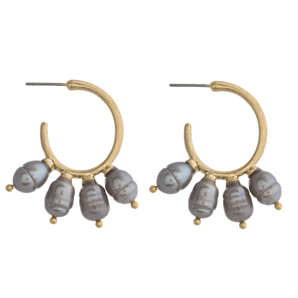 Wholesale faux pearl metal open hoop earrings