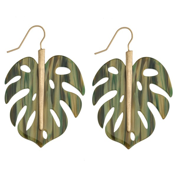 "Resin palm leaf drop earrings. Approximately 2.5"" in length."