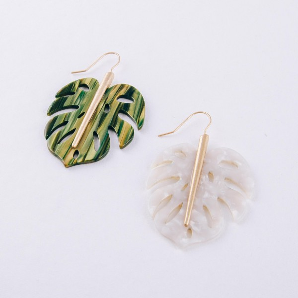 """Resin palm leaf drop earrings. Approximately 2.5"""" in length."""