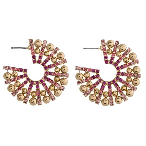 Wholesale rhinestone encased ball beaded burst open hoop earrings diameter