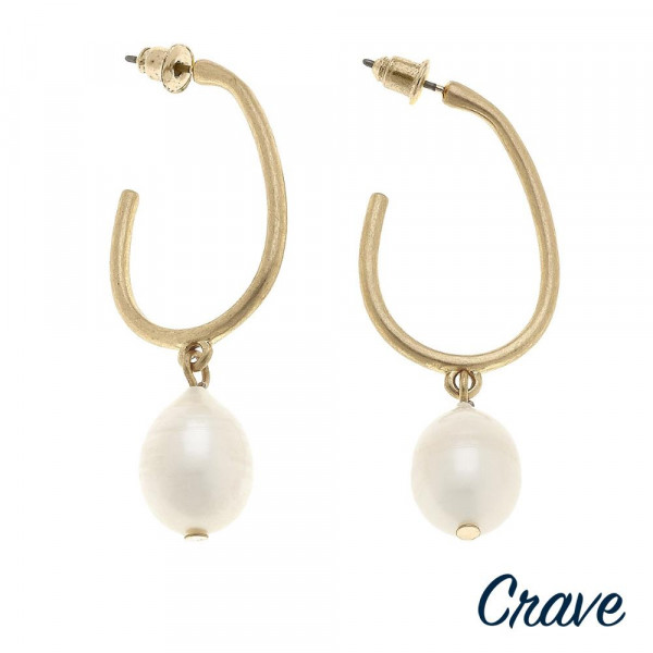 "Gold pearl accented J-Hoop earrings. Approximately 2"" in length."