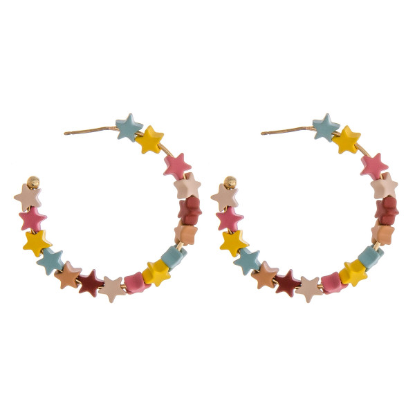 "Color block star beaded open hoop earrings. Approximately 1.5"" in diameter."