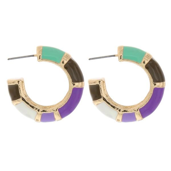 Wholesale enamel color color block thick open hoop earrings diameter Thickness m