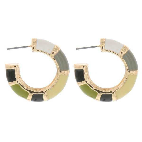 """Enamel color coated color block thick open hoop earrings.  - Approximately 1.25"""" in diameter - Thickness approximately 7mm"""
