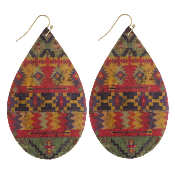"Thin cork tribal print teardrop earrings. Approximately 3"" in length."