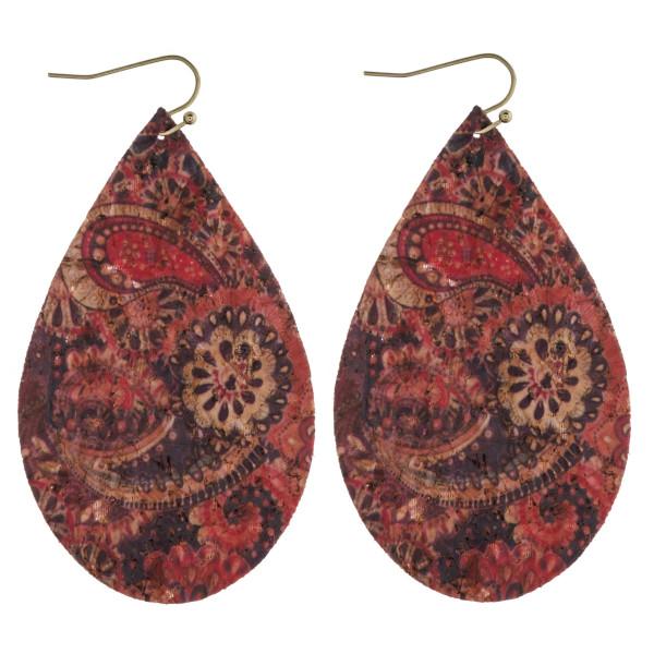 "Thin cork paisley print teardrop earrings. Approximately 3"" in length."
