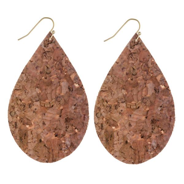 """Thin cork teardrop earrings. Approximately 3"""" in length."""