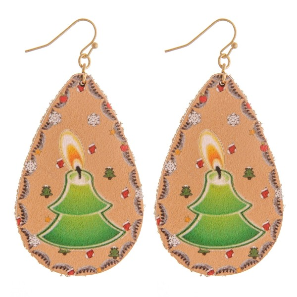 "High quality faux leather Christmas candlelight teardrop earrings.  - Approximately 2.75"" in length"
