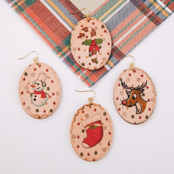 "High quality faux leather Christmas stocking oval drop earrings.   - Approximately 3"" in length"