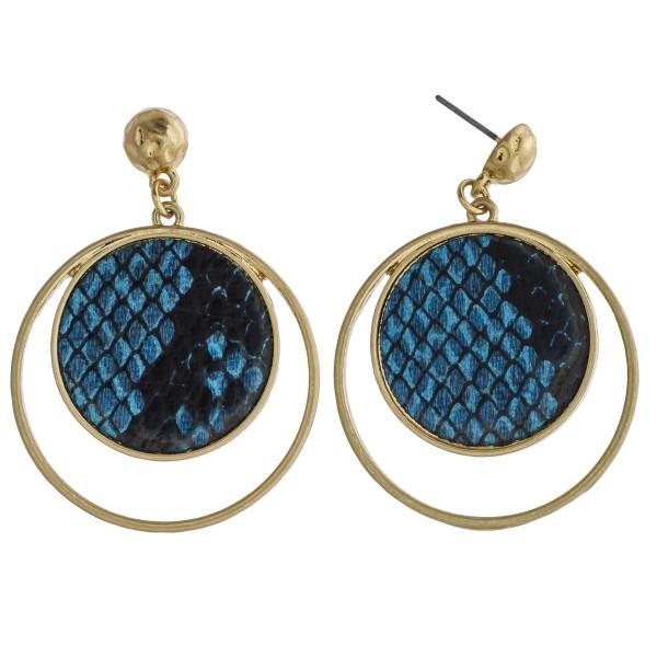 "Metal encased faux leather snakeskin nested dangle earrings. Approximately 2"" in length."