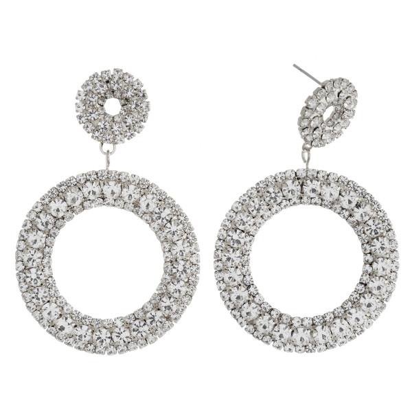 "Rhinestone cubic zirconia open circle dangle earrings. Approximately 2.25"" in length."