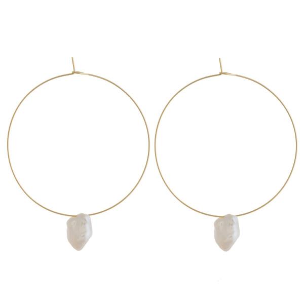 Wholesale thin wire freshwater pearl hoop earrings diameter