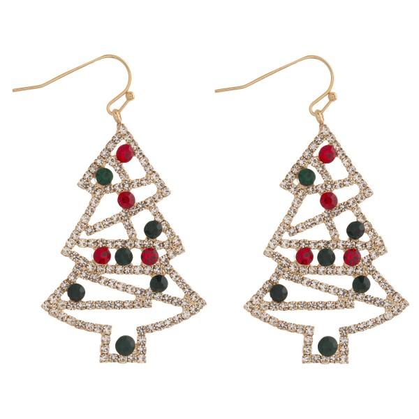 "Rhinestone encased Christmas tree dangle earrings. Approximately 2"" in length."