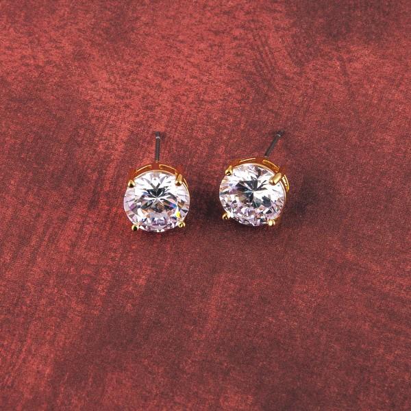 Round cubic zirconia stud earrings. Approximately 1cm in diameter.