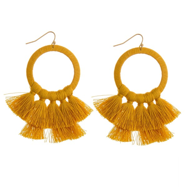 "Thread wrapped open circle tassel earrings.   - Approximately 2.5"" in length"