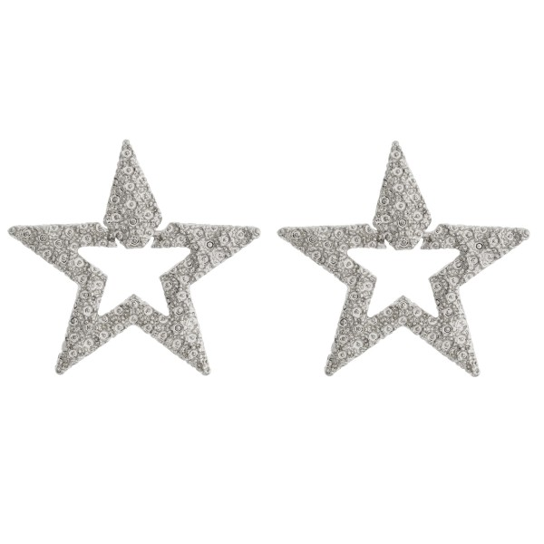 Wholesale metal crinkled textured star earrings