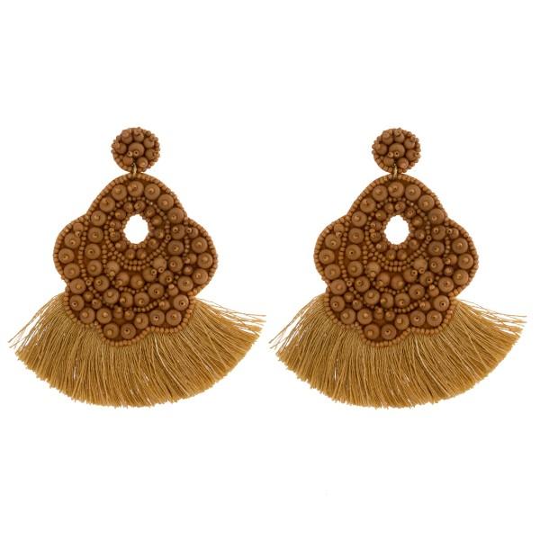 """Oversized bubble beaded felt boho tassel earrings. Approximately 3.5"""" in length."""