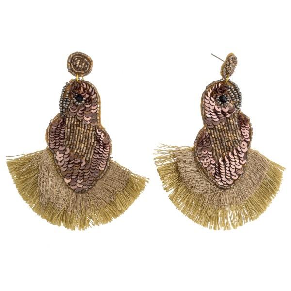 """Sequin seed beaded felt bird fringe tassel statement earrings.  - Approximately 4.25"""" in length"""