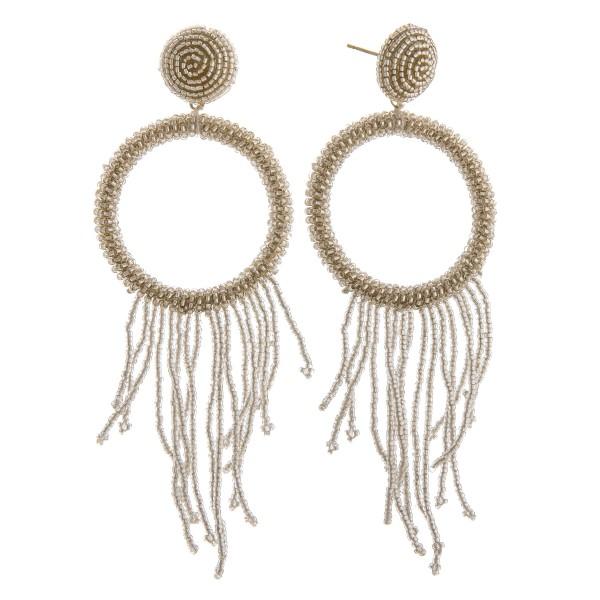 "Open circle seed beaded fringe tassel earrings.  - Approximately 4"" in length"