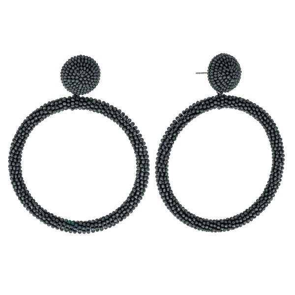 Wholesale seed beaded open circle statement earrings diameter