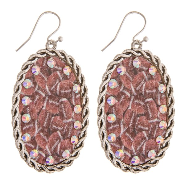 "Faux leather football printed rhinestone metal drop earrings.   - Approximately 2.5"" in length"