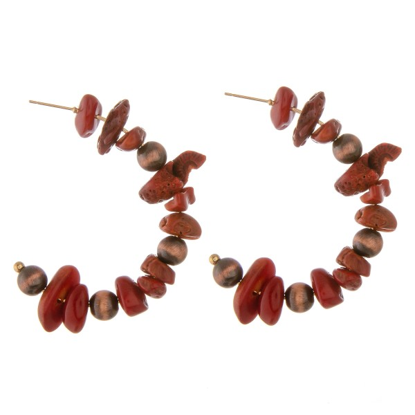 Natural stone nugget beaded open hoop earrings.