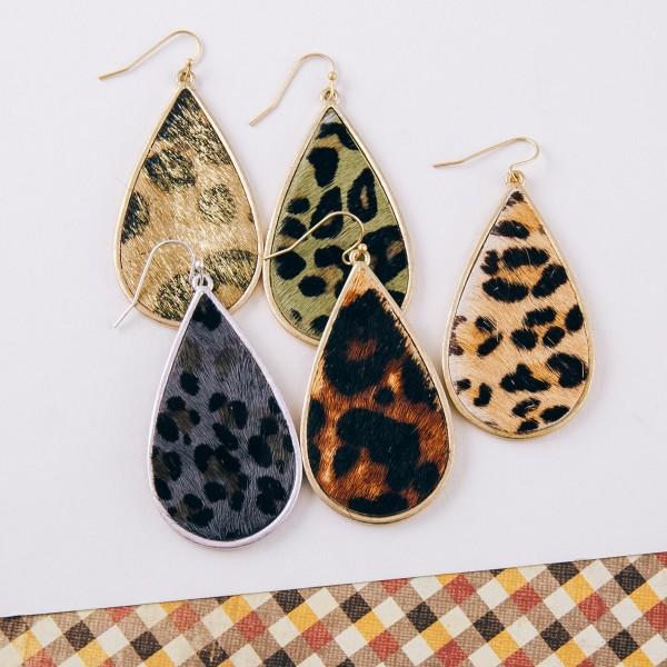"""Cowhide leopard print teardrop earrings.   - Approximately 2.5"""" in length"""