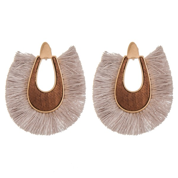 Wholesale wood fringe tassel statement earrings