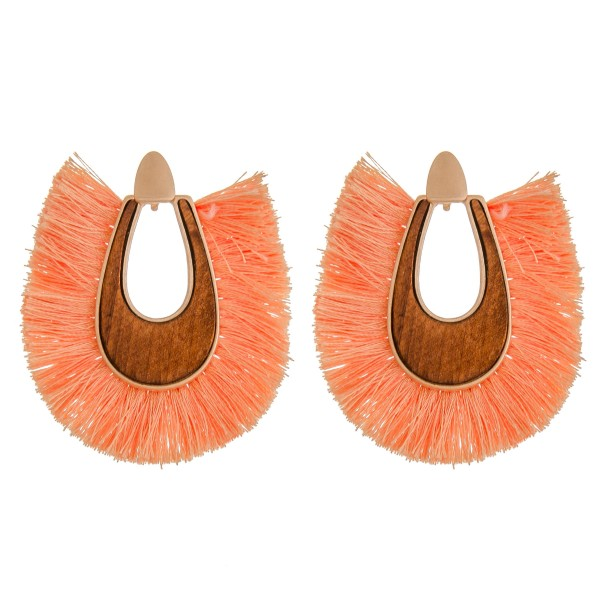 "Wood fringe tassel statement earrings.  - Approximately 2.25"" in length"