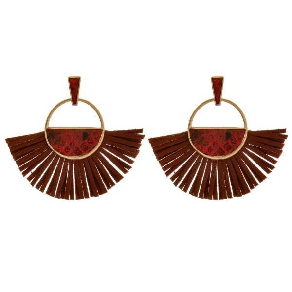 """Open circle faux leather tassel earrings with snakeskin details.  - Approximately 2.5"""" in length"""