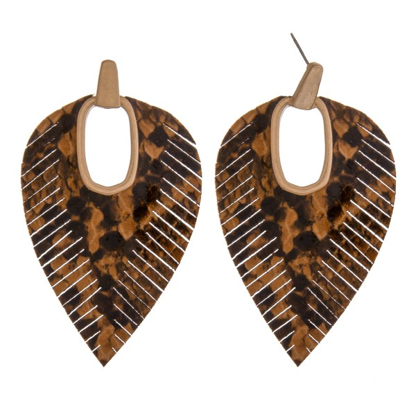 """Faux leather snakeskin hinge cut out earrings.  - Approximately 2.75"""" in length"""