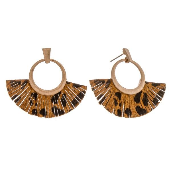 Wholesale cowhide leopard print faux leather tassel earrings