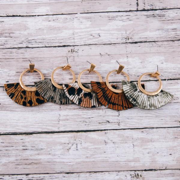 """Cowhide leopard print faux leather tassel earrings.  - Approximately 2"""" in length"""