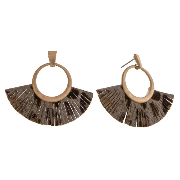 Wholesale cowhide leopard print faux leather tassel earrings