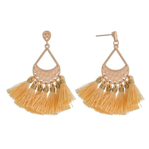 """Hammered teardrop tassel fringe drop earrings.  - Approximately 2"""" in length"""