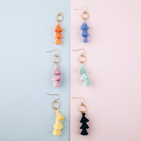 """Fan tassel drop earrings.  - Approximately 2.75"""" in length"""