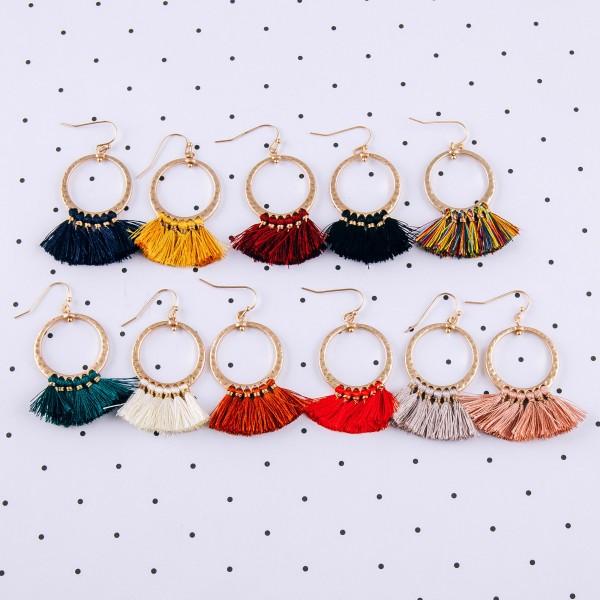 "Hammered open circle fringe tassel earrings.  - Approximately 2"" in length"