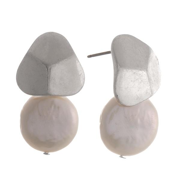 """Faux pearl drop earrings.  - Approximately 1"""" in length"""
