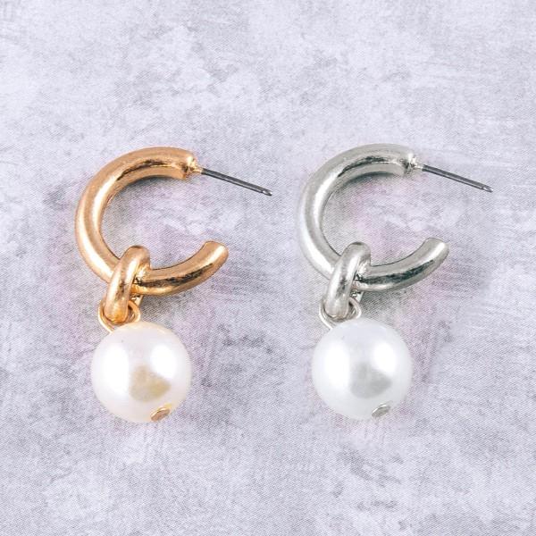 """Open hoop drop pearl earrings.  - Approximately 1.25"""" in length"""